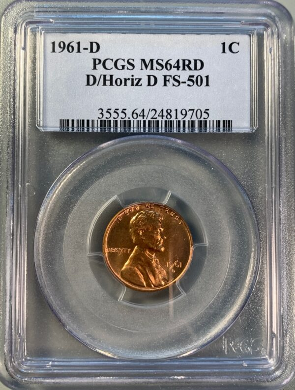 1961-D Over Horizontal D Lincoln Cent FS-501 MS64RD PCGS