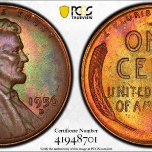 1956-D Lincoln Cent MS65BN PCGS 'Jade Orange'