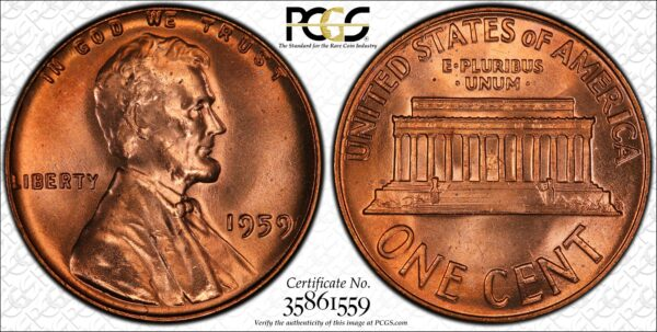 1959 Lincoln Memorial Cent MS66RD PCGS