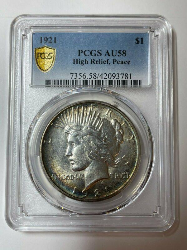 1921 Peace Dollar AU58 PCGS