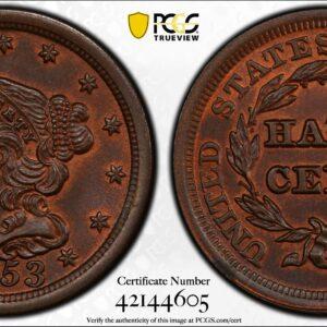 1853 Half Cent MS64BN PCGS CAC