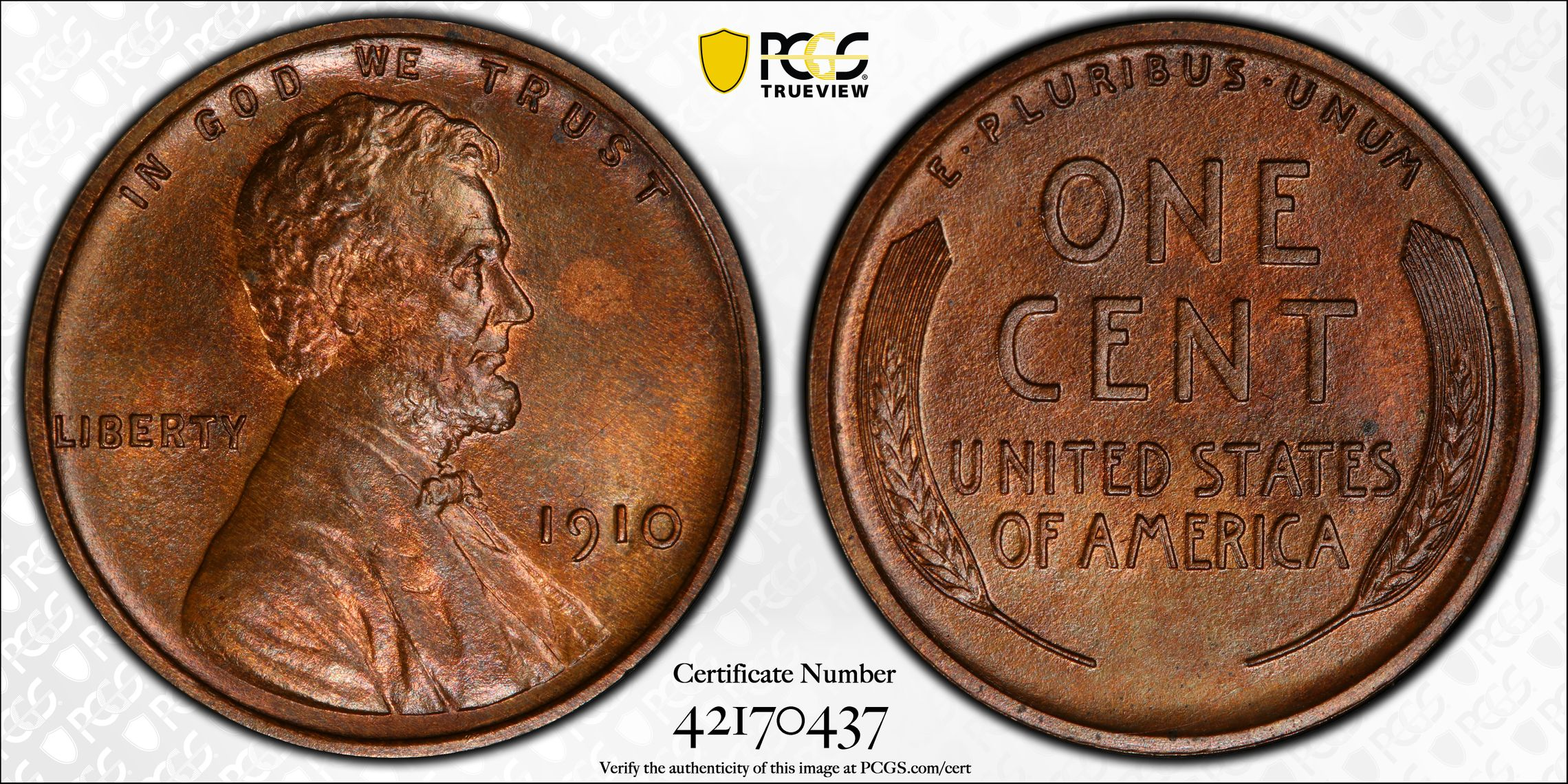 1910 Lincoln Cent PR64BN PCGS