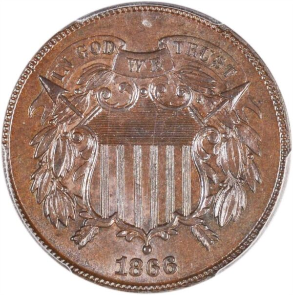 1866 Two Cent MS63BN PCGS