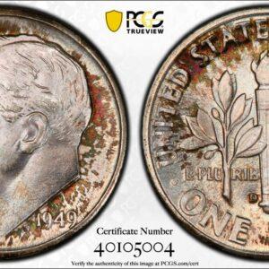 1949-D Roosevelt Dime MS67FB PCGS 'Burnt Cinnamon'