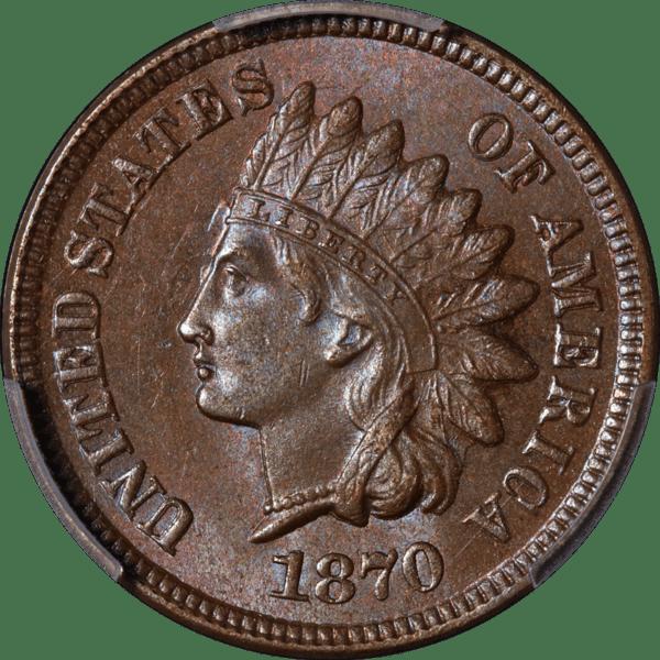 1870 Indian Cent, Snow-11, MS65BN PCGS