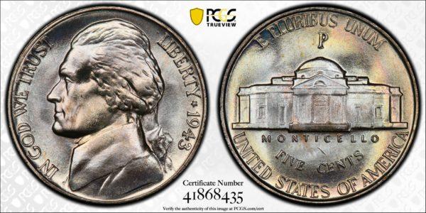 1943-P Jefferson Nickel MS67 PCGS