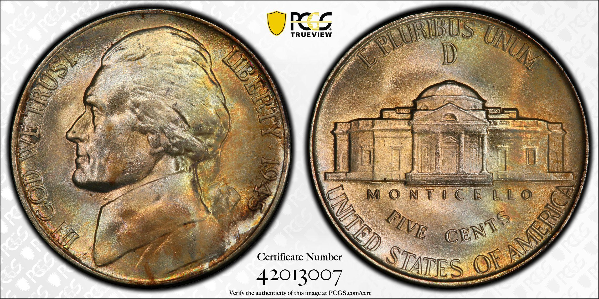 1945-D Jefferson Nickel MS67 PCGS